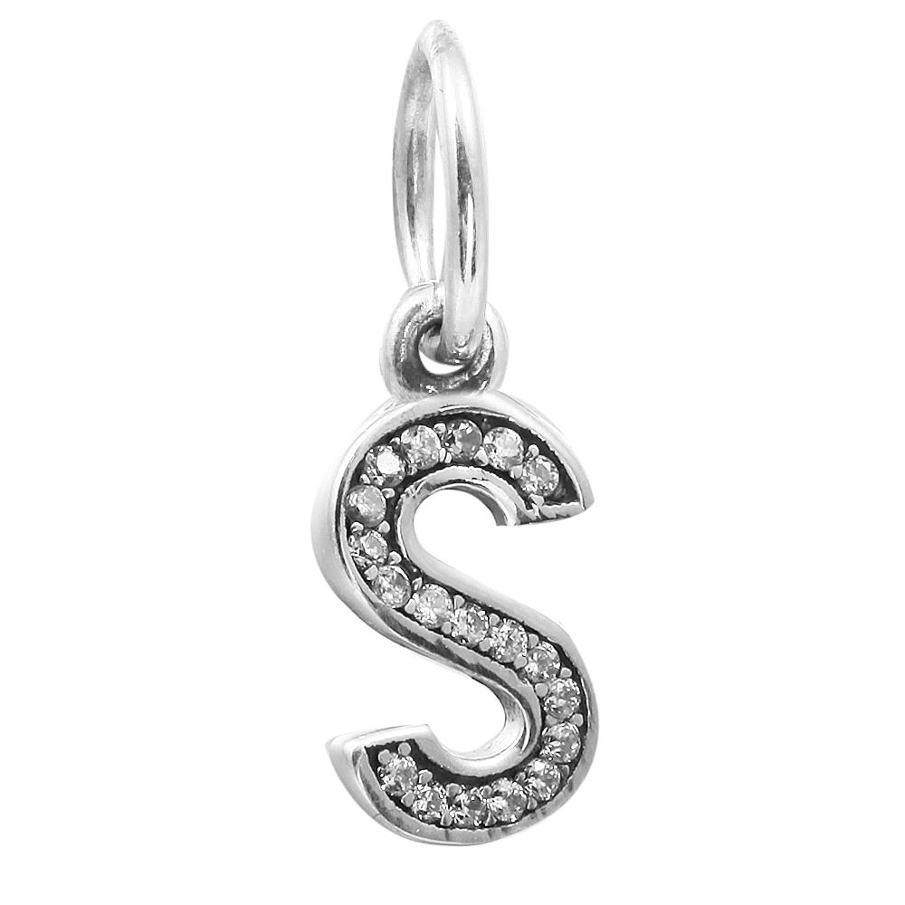 Letter S Dangle with Clear CZ 019 100% 925 Sterling Silver Beads Fit Pandora Charms Bracelet Authentic DIY Fashion Jewelry