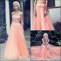 New Pink AppliquesTulle Sleeveless Long Elegant Zipper Back Prom Dresses A-line Slit Long Prom Dresses 2015 Custom Made