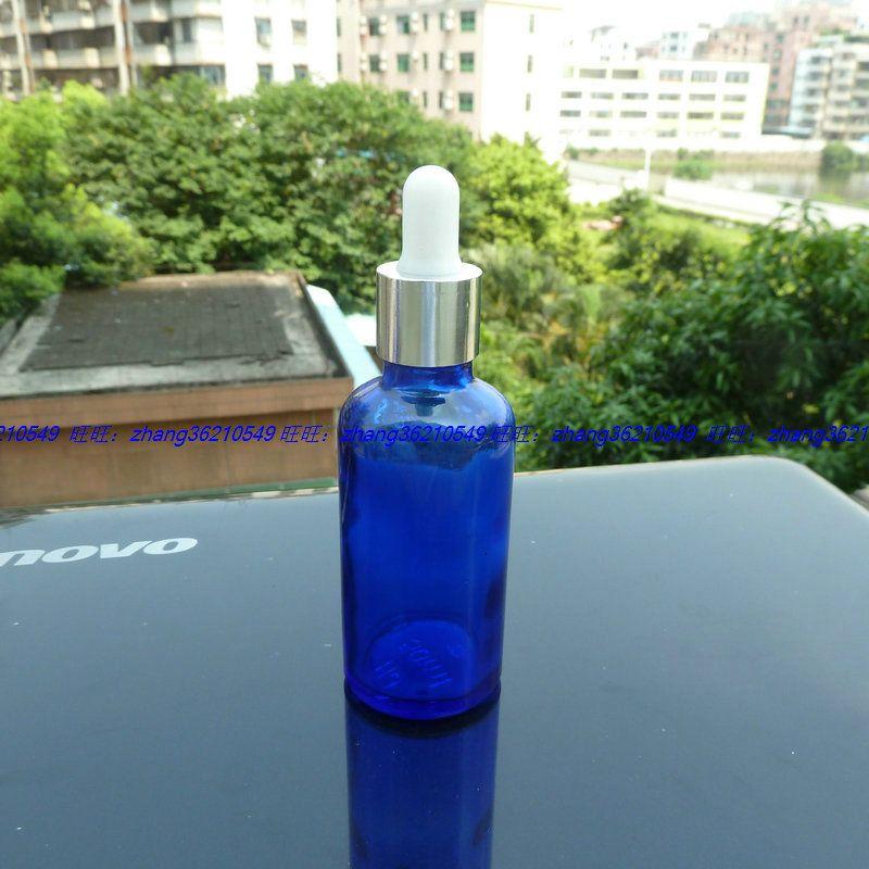 50ml 파란색 유리 에센셜 오일 병 반짝이 은색 스포이드 캡으로 알루미늄. 오일 바이알, 에센셜 오일 용기
