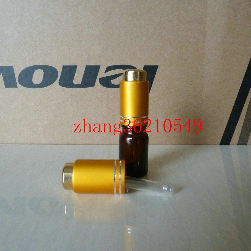 5ml 갈색 / 호박색 유리 에센셜 오일 병 알루미늄 프레스 매트 골드 드로퍼 캡 포함. 오일 바이알, 에센셜 오일 용기