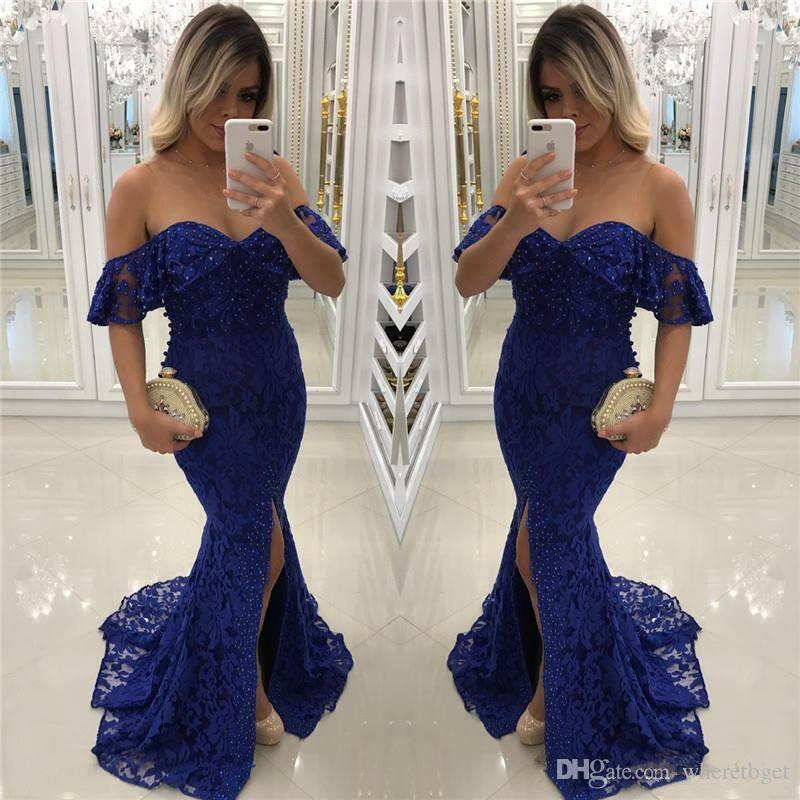 Navy blue bling beaded mermaid lace Prom Dresses 2019 Nigerian African off shoulder modest formal Evening Dresses Gowns
