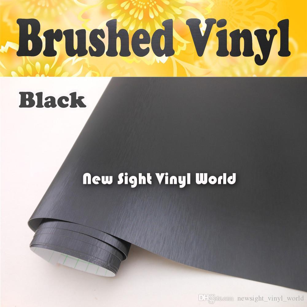Hoge kwaliteit zwarte geborstelde metalen vinylfilm voor auto wraps met lucht bubble gratis grootte: 1,52 * 30m / roll