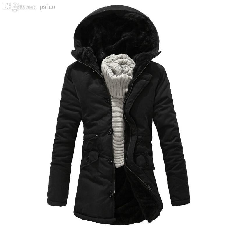Güz-Yeni Kış Erkekler Uzun Kapşonlu Parkas Aşağı ceket Palto Mens Kalınlaşma Termal Parkas Coat Erkek Pamuk Parkas Palto