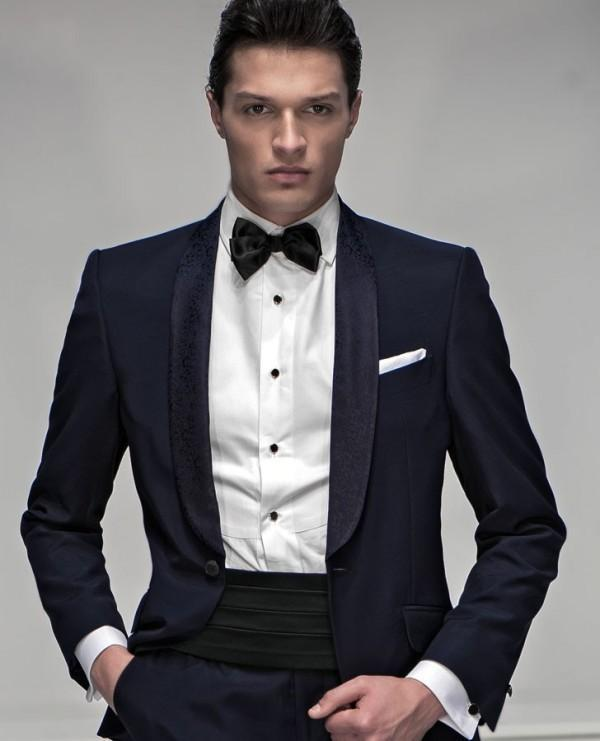 Navy One Button Shawl Colar Groom Tuxedos Men's Wedding Dresses Prom Clothing Groomsman Suits (Jacket+pants+Bows tie)NO180