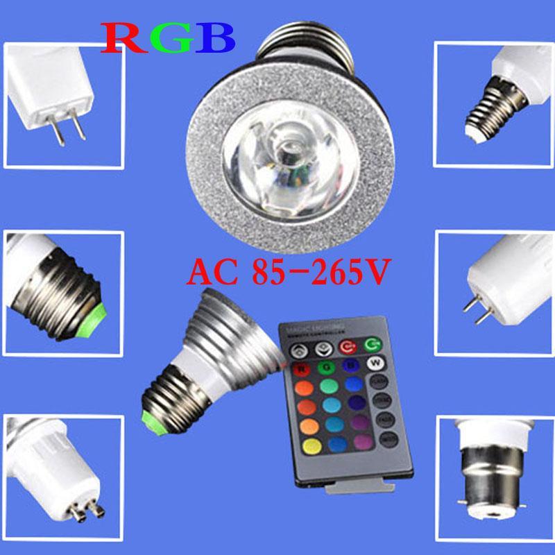 RGB светодиодные лампы 9 Вт GU10 E27 E14 MR16 B22 16 изменение цвета лампы прожектор AC 85-265 В С 24Keys ИК-пульт дистанционного управления Бесплатная доставка