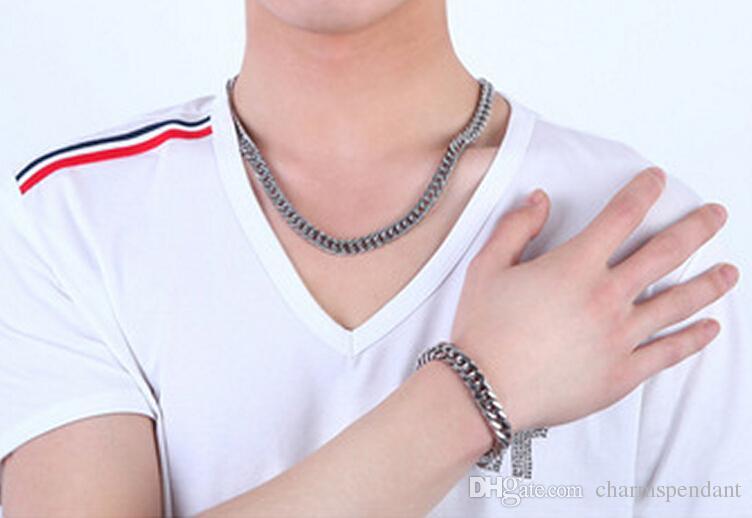 23 '' + 8.7 '' New 316L Stainless Steel Jewlery Set 9mm largo Curb Chain Link bracciale collana per moda uomo gioielli regali tono argento