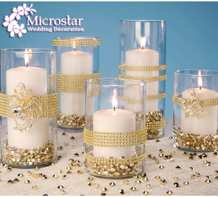 Gold Deco Mesh Trim Wedding Decoration Bling Diamond Mesh Wrap Birthday Cake Roll Sparkle Party Rhinestone Crystal Ribbons (8)