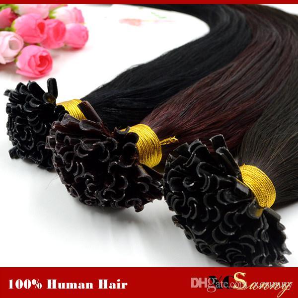 """XCSUNNY 18 """"20"""" 100 g Extensiones de cabello con punta en U Humano 1 g / s Indio 100% Indio Virgen Cabello humano Extensiones de cabello con fusión de queratina"""