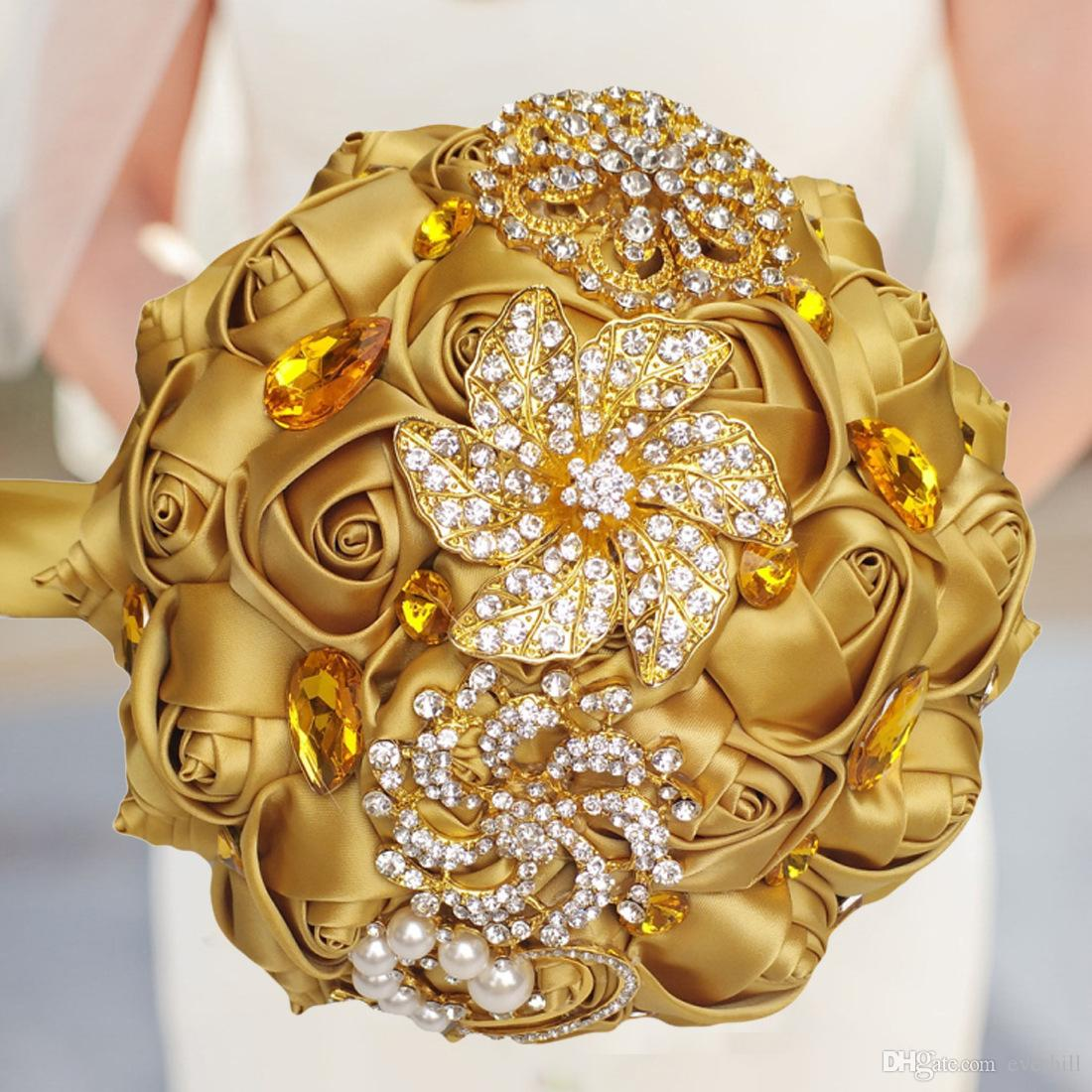 Jane Vini Luxury Gold Crystal Wedding Bouquet For Brides Shiny Rhinestone Diamond Wedding Flowers Bridal Bouquets Artificial Roses Brooch
