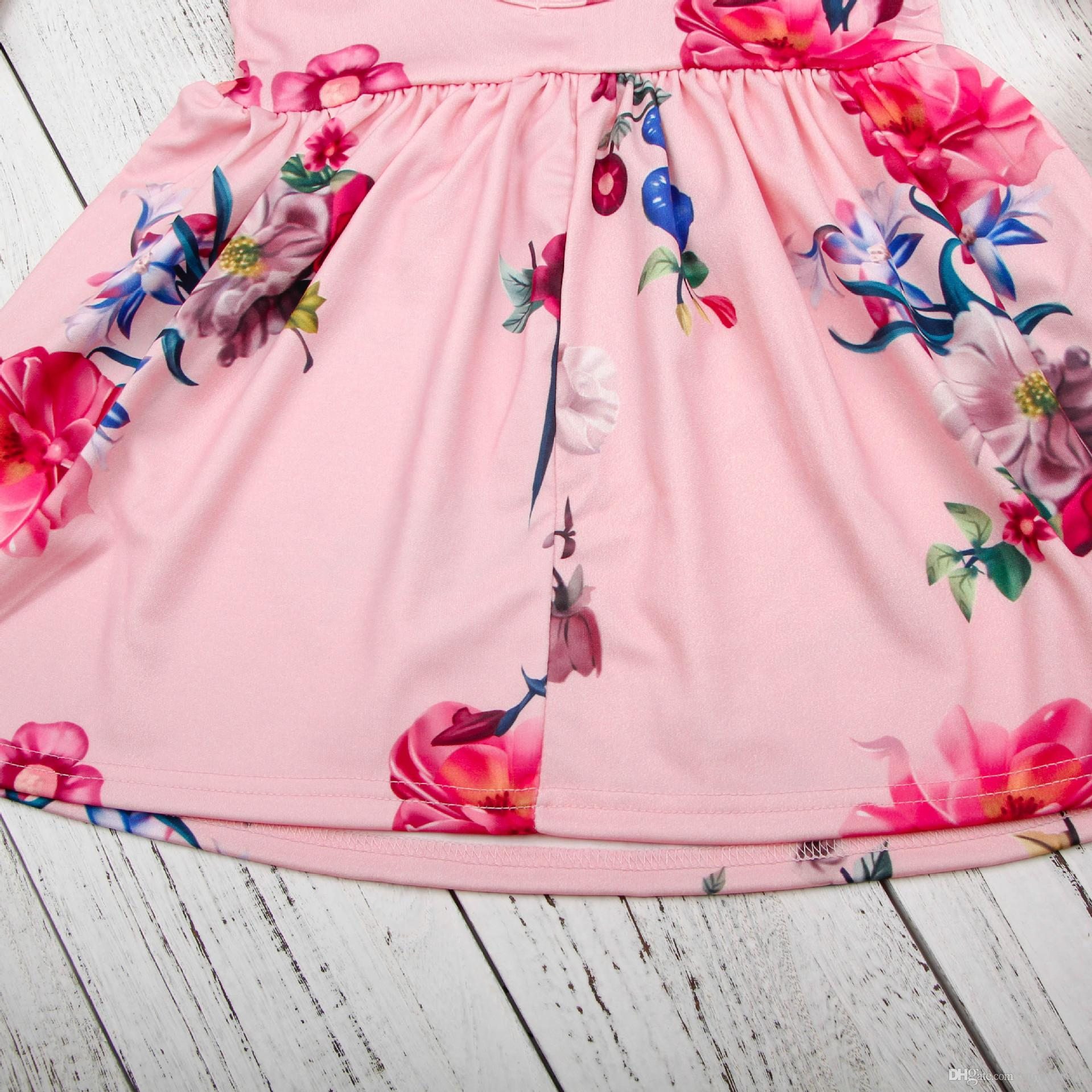 2018 Ins Children Party Dress Girls Floral Short Sleeve Pleated ...