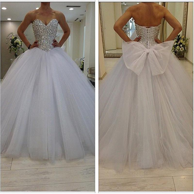 2016 Sparkly Ball Gown Wedding Dresses Plus Size Puffy Tulle Skirt ...
