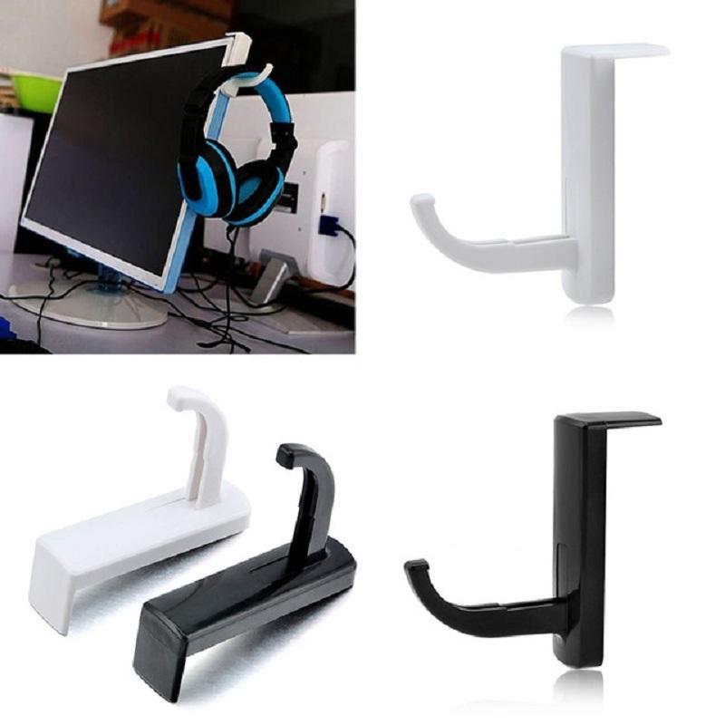Atacado- 2 pcs cabide ganchos prático fone de ouvido fone de ouvido titular ganchos cabide de parede PC Monitor Stands porta chave acessório ferramentas de armazenamento em casa