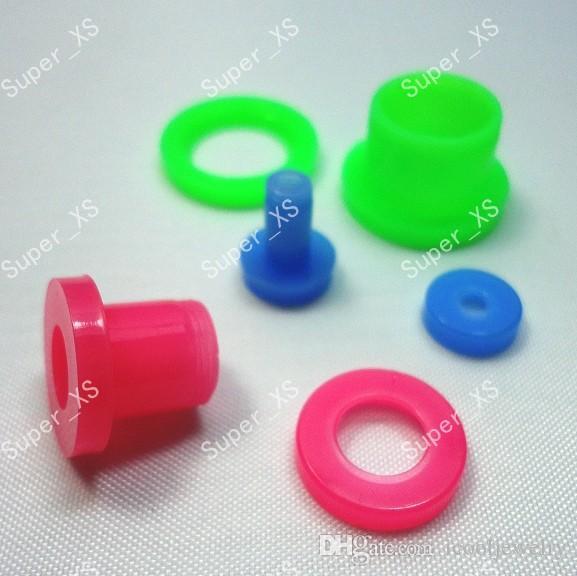 Moda atacado jóias lotes tamanho misto de expansão da orelha de acrílico colorido plugs túneis unhas frete grátis LR236