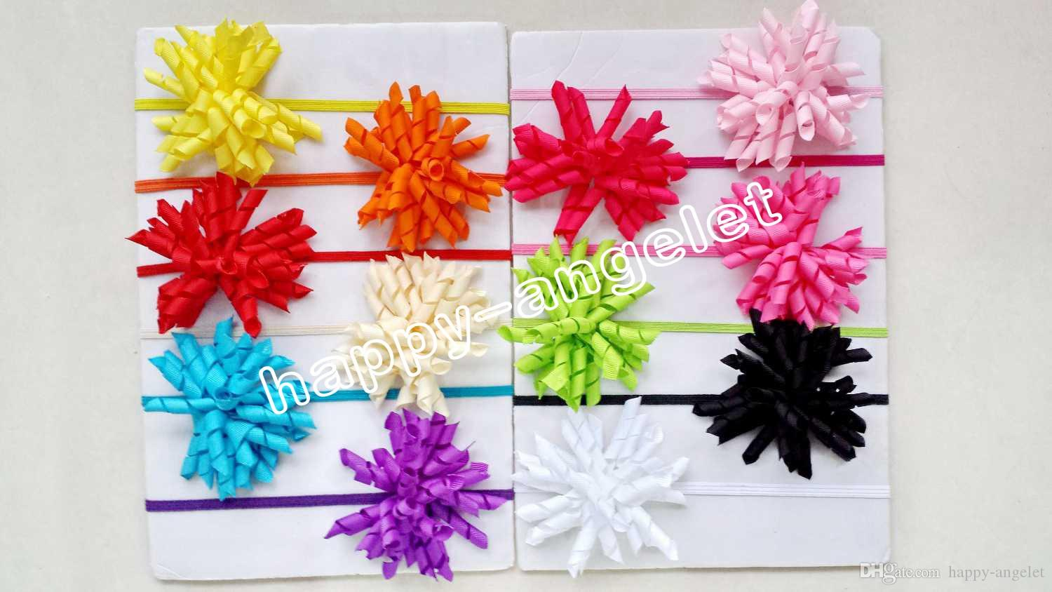 Baby stretchy headband korker bow flower clip hairband hot sale skinny Elastic slender rubber band Gymboree style hair ties 50PCS PD013