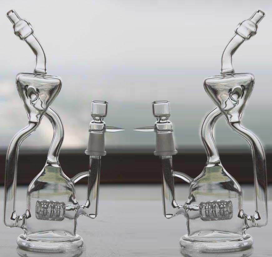 타이어 새장 경사로 Percolators 유리 Bongs 리사이클러 펄스 타입 Recyler 연기가 나는 물 파이프 두 가지 기능 Clear Oil Rigs Glass Bong