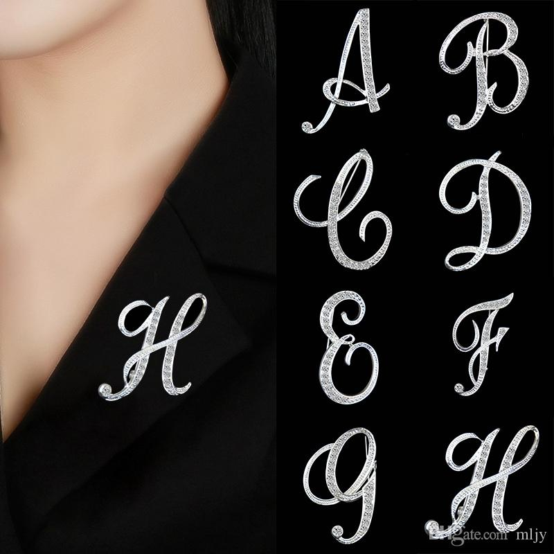 Silber Brosche Kristall 26 Buchstaben BroschePins für Frauen Pullover Schal Anzug Trendy Charming Female Brooch Modeschmuck