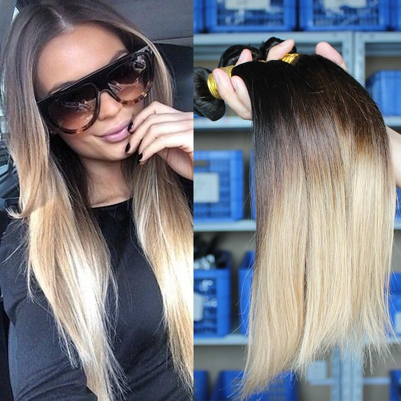 Ombre Hair Extensions Three Tone 1b427 Malaysian Virgin Hair