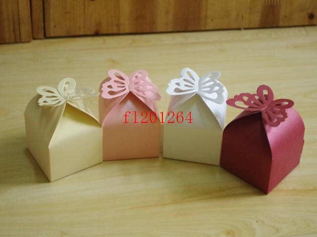 500pcs / lot Fedex DHL liberano il trasporto più nuovi che piegano la scatola di caramella di farfalla di DIY favorisce i contenitori di regali