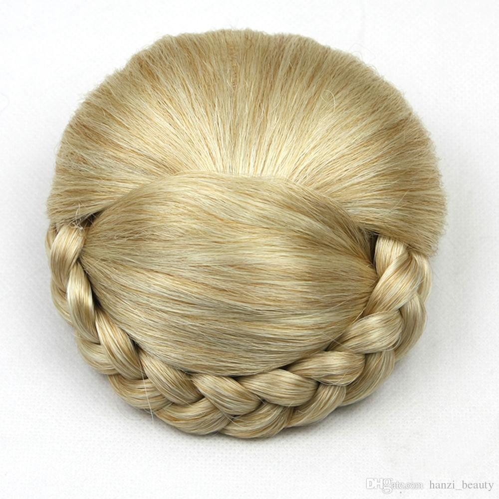 6 Colors Synthetic Hair High Temperature Fiber Braided Chignon Clip In Hair Bun Donut Roller Hair Piece