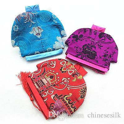 Старинные китайская одежда в форме небольшой мешок молния портмоне ювелирные изделия подарок мешки шелк парчи ремесло упаковка мешок 2 шт. / лот