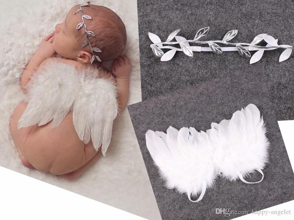 5 set baby baby olijfbladeren blad hoofdband witte veer engel vleugel couture newbron doopsel haarband fotografie rekwisieten set YM6129