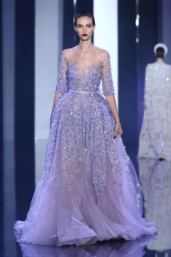 2016 Elie Saab A Line Evening Gowns See Through Sheer Neck Women ...
