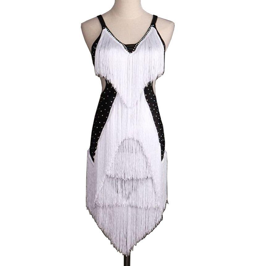 Latin Dance Dress Women Adult Costume CHEAPEST D0146 with Shinning Rhinestones Tassels Salsa Standard Dance Dresses