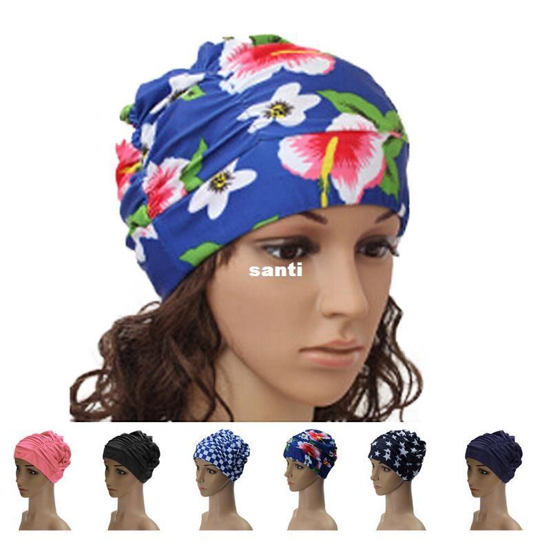 17 ألوان السيدات إمرأة قبعة السباحة السباحة السباحة العمامة مطاطي الشعر الطويل قبعات السباحة مريحة كبيرة