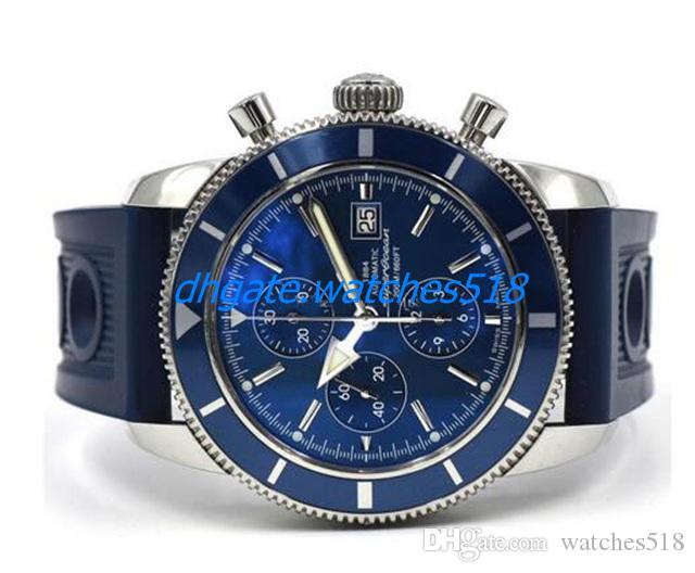 New SuperOcean Heritage Chrono 46mm Quartz Watch A13320 Blue Dial And Rubber Band Mens Sports Wrist Watches