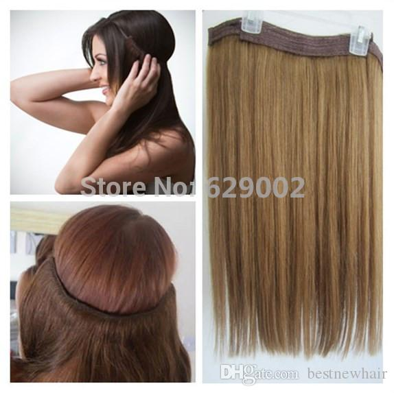 Hot Sale Brazilian Human Hair No Clips Halo Flip in Hair Extensions, 1pc 100G Easy Fish Line Hair Weaving Wholesale Price