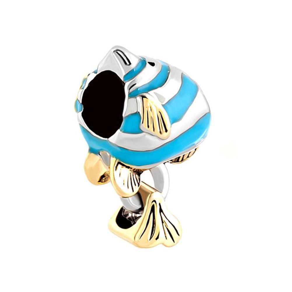 Gepersonaliseerde vrouw sieraden aanbiddelijke kleur emaille vis Europese zeehonden kraal metalen bedels armband met groot gat pandora chamilia compatibel