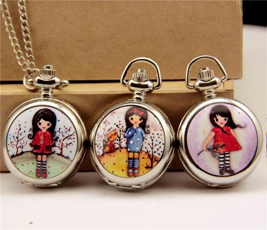 Silver High Quality Girl Pocket Watches Children Kids Cute Necklace Pocket Watches Children Girl Lovely Clothes Chain Drop Free Shiping