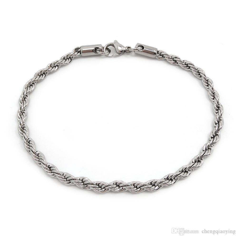 Bracelet de fermoir mousqueton en acier inoxydable de haute qualité 22cm hommes de mode tresse en acier inoxydable