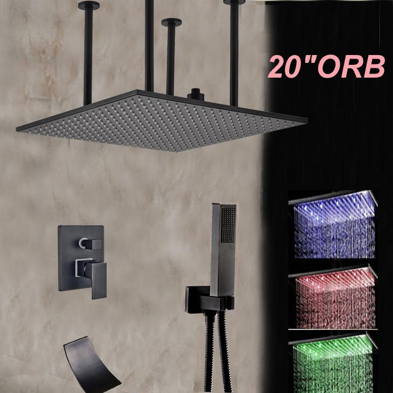 Оптовые и розничные светодиодные изменение цвета потолочные ванная комната душевая головка смеситель кран водопад носик ж / ручной душ