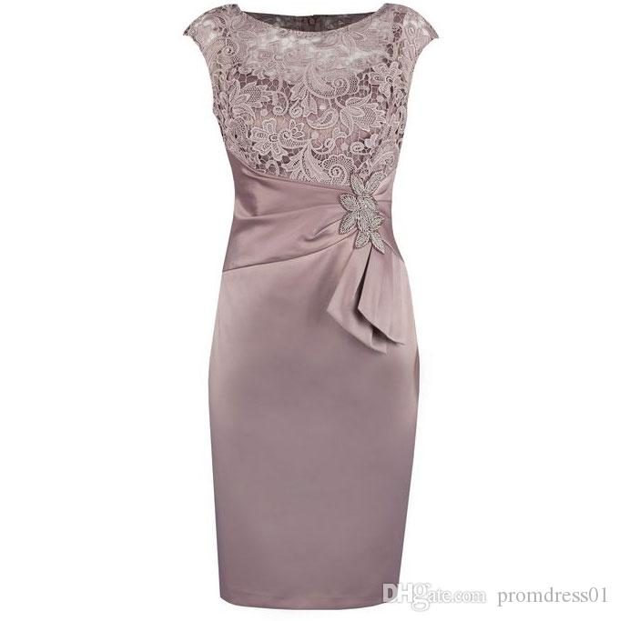 Hot Selling Knee Length Tafetta Mother of the Bride Dresses for Wedding In Stock with Lace Sash