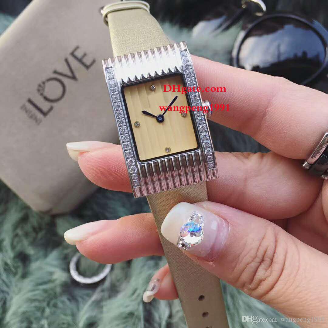 3 Стиль Модные женские часы 32MM Белый циферблат Asia VK Кварцевый бриллиант Безель Кожаный ремешок ремешок Хронограф женские часы Часы