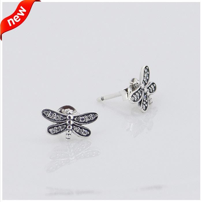 Pandora ile uyumlu küpeler takı gümüş dragonfly küpe 100% 925 ayar gümüş toptan takı toptan DIY