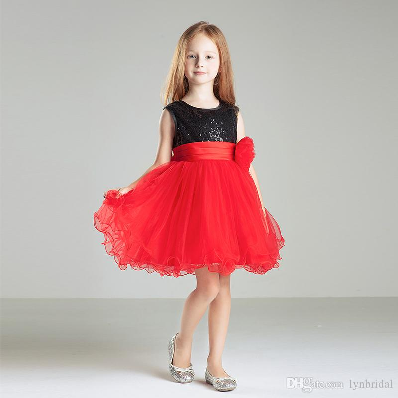 Black Red Short Kids Formal Gown Sequin Tulle Cheap Simple Little ...