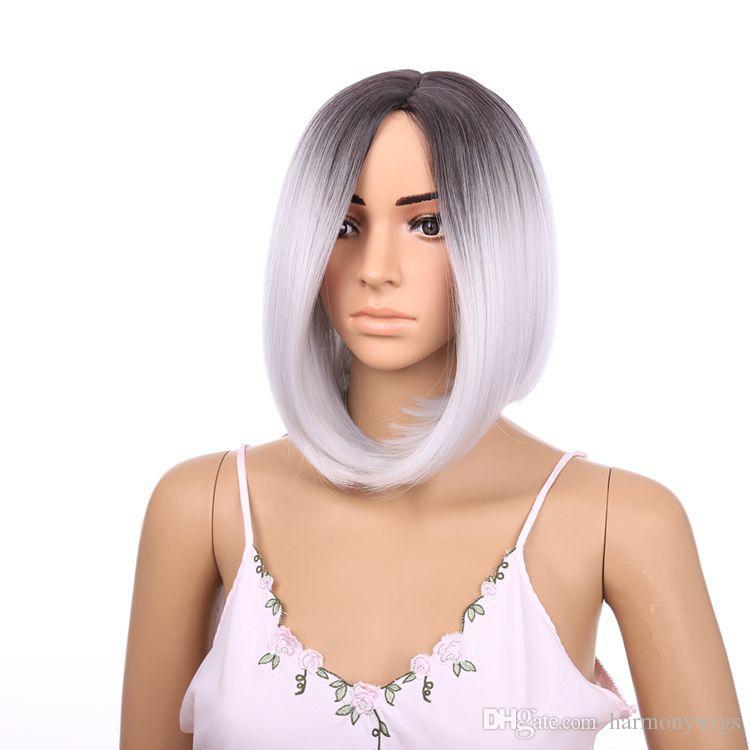 أزياء الرباط الجبهة الباروكة أومبير BlackGray 12inch مستقيم قصير بوب الاصطناعية مقاومة للحرارة الشعر المستعار شعبية