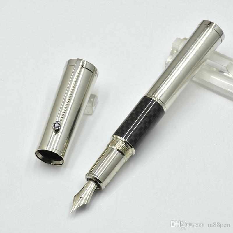 جودة عالية كوبرنيكوس الفضة وألياف الكربون الأسود نافورة قلم / الأسطوانة الكرة من ركلة جزاء مكتب القرطاسية M بنك الاستثمار القومي الحبر الخط الأقلام هدية