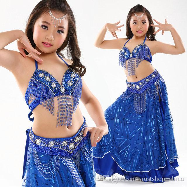 Children Kid Girls Belly Dance Outfit Costume Perform Sequins Top Skirt Wear Set