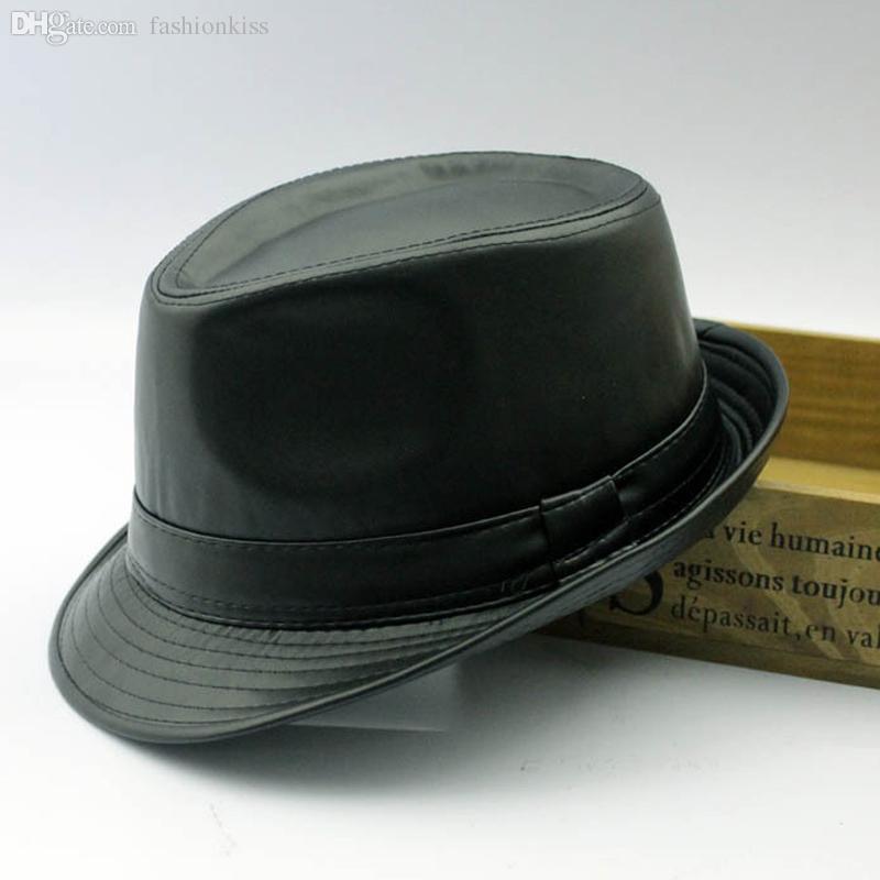 도매 - 남자 페도라 트릴 바이 모자 블랙 가죽 페도라 모자 여성용 chapeau homme 빈티지 재즈 모자 for men fedora