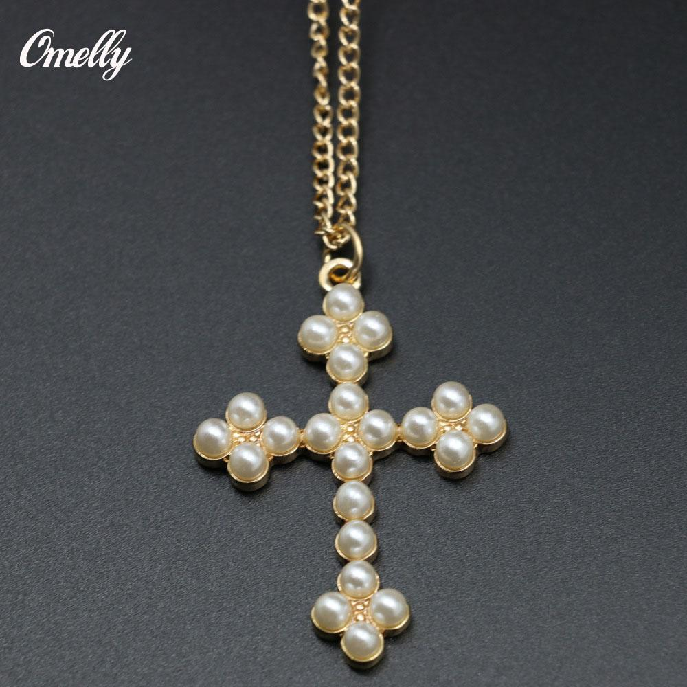 New 14k Gold Filled Flower Faux Pearl Cross Pendant Necklace For Women  Fashion Easter Christmas Gift