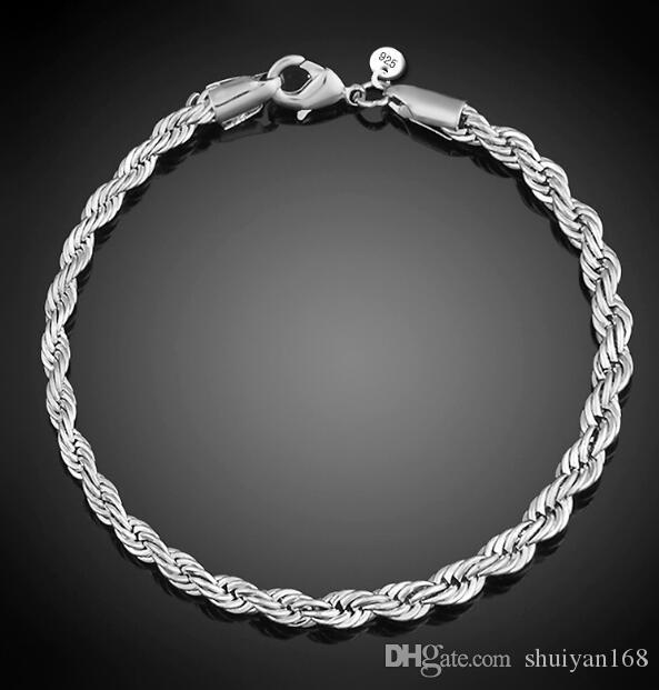4mm 925 Sterling Silver Plated Twist catena di corda Bracciali per le donne Uomini Wedding Party Braccialetto europeo Charms Bracciali Fit perline di Murano