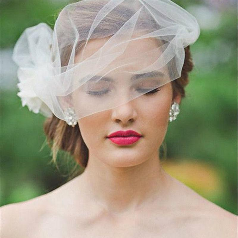 Simple Stunning New Arrival 2015 Tulle Wedding Veils With Hand Made Flower Birdcage Veils For Bridal Custom Made EN7077