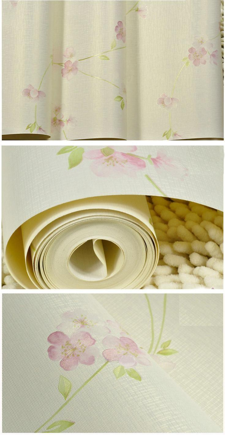 Rural Flower Textured Bedroom Wallpaper Pvc Floral Wall Paper ...