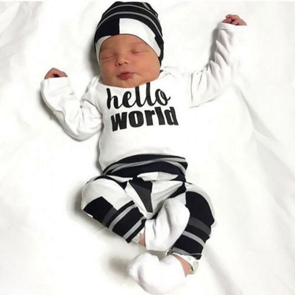 All'ingrosso-Nuovo 2017 autunno baby boy vestiti a maniche lunghe lettera t-shirt + pants + cap neonato 3 pz vestito bambina set di abbigliamento per bambini usura