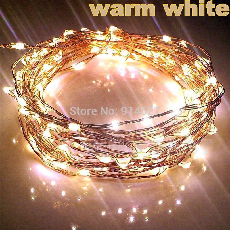 Hurtownie-Outdoor 10m 33ft 100 LED Copper Wire String Lights Ciepłe White Garland 220 V 110V Wakacje Świąteczne Dekoracje Party Oświetlenie