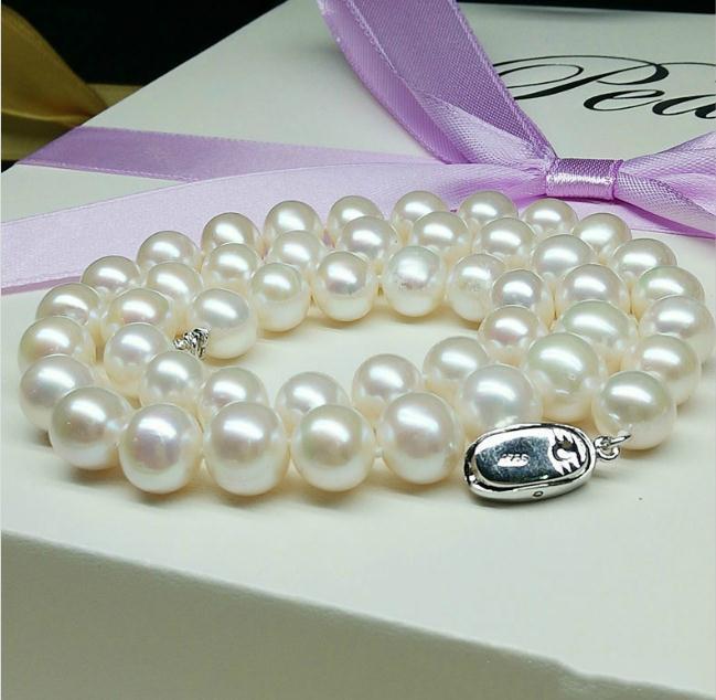 9-10 мм белый природный пресноводный жемчуг ожерелье 17 дюймов 925 серебряная пряжка