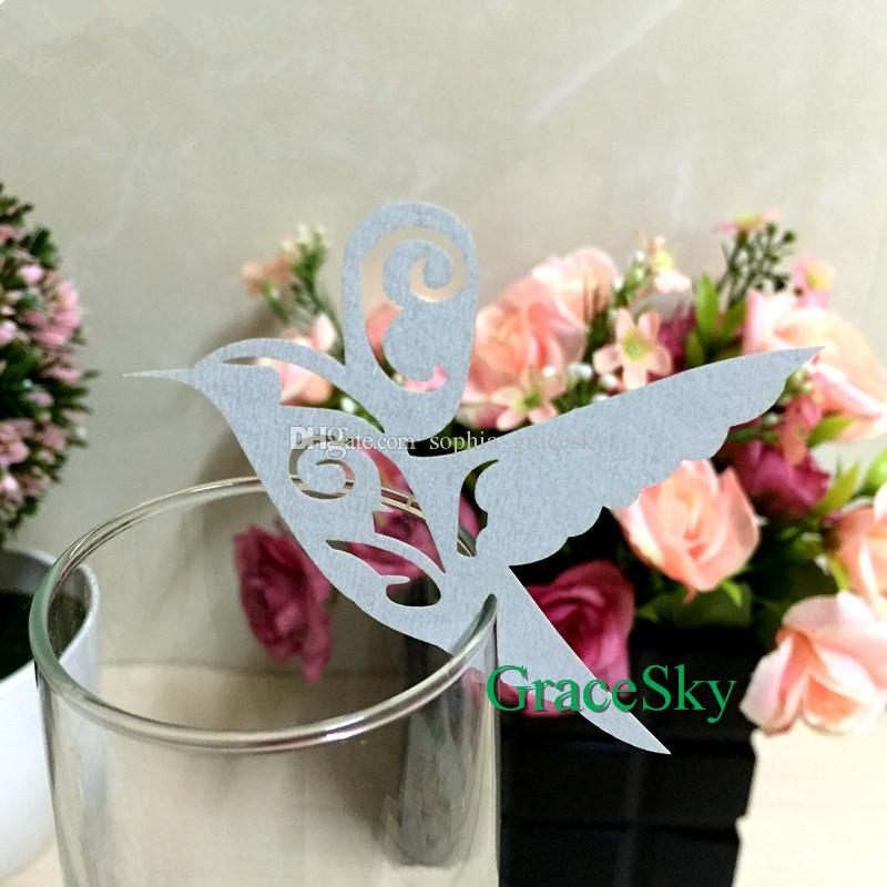 50PCS Free Shipping New Arriva Laser Cutting Elegant Bird Shaped Wine Glasses Place Seat Name Cards for Wedding Party Table Decorations